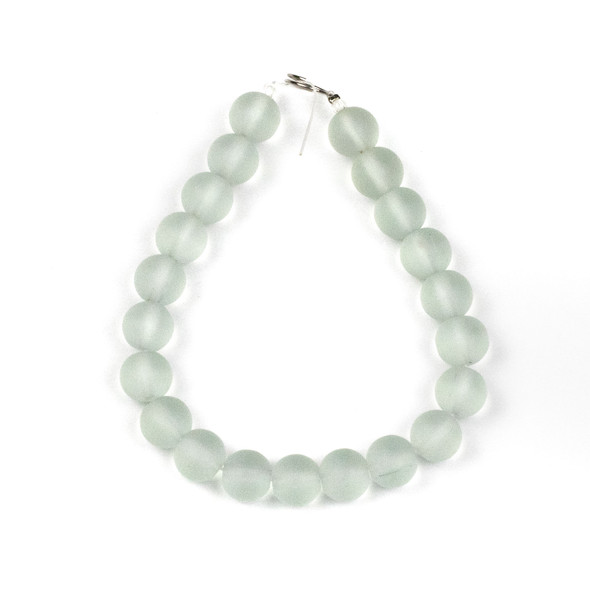 Matte Glass, Sea Glass Style 10mm Matte Seafoam Green Round Beads - approx. 8 inch strand