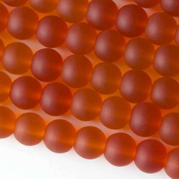 Matte Glass, Sea Glass Style 10mm Tangerine Orange Round Beads - approx. 8 inch strand