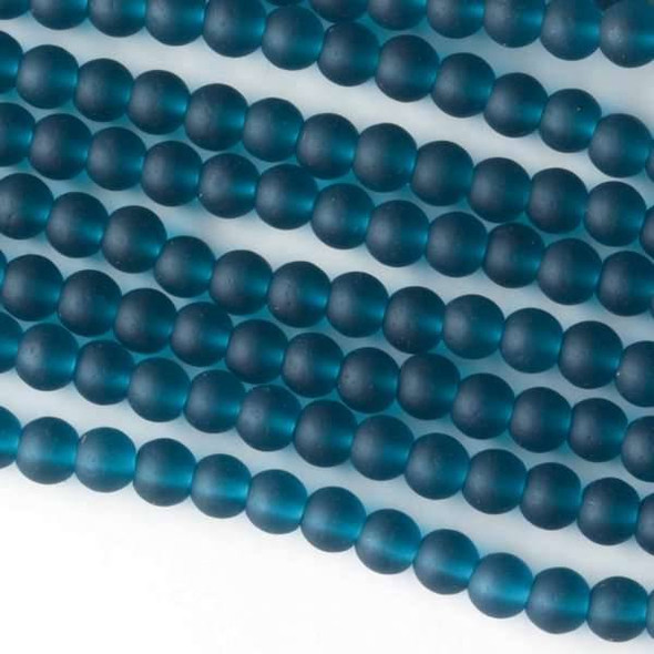 Matte Glass, Sea Glass Style 4mm Peacock Blue Round Beads - approx. 8 inch strand