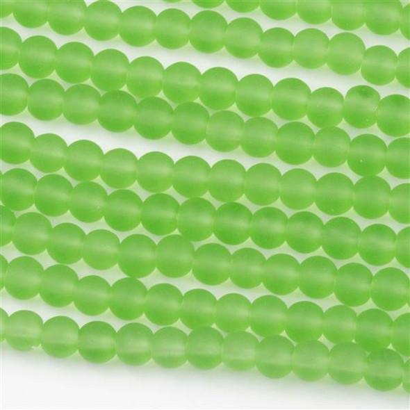 Matte Glass, Sea Glass Style 4mm Peridot Green Round Beads - approx. 8 inch strand