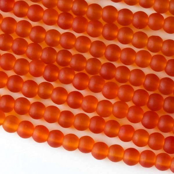 Matte Glass, Sea Glass Style 4mm Tangerine Orange Round Beads - approx. 8 inch strand