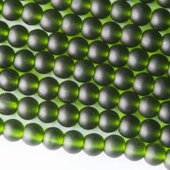 Matte Glass, Sea Glass Style 6mm Emerald Green Round Beads - approx. 8 inch strand