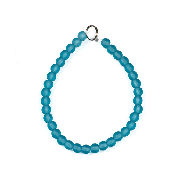 Matte Glass, Sea Glass Style 6mm Light Aqua Blue Round Beads - approx. 8 inch strand