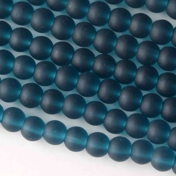 Matte Glass, Sea Glass Style 6mm Peacock Blue Round Beads - approx. 8 inch strand