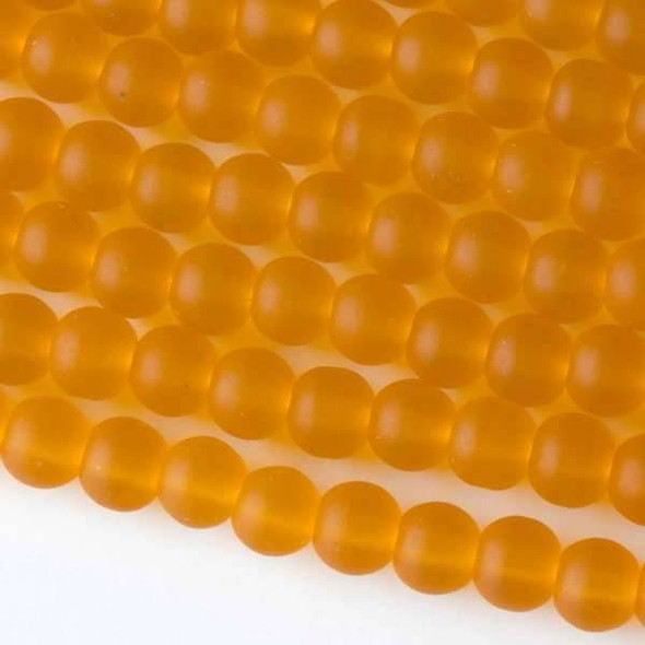 Matte Glass, Sea Glass Style 6mm Saffron Yellow Round Beads - approx. 8 inch strand