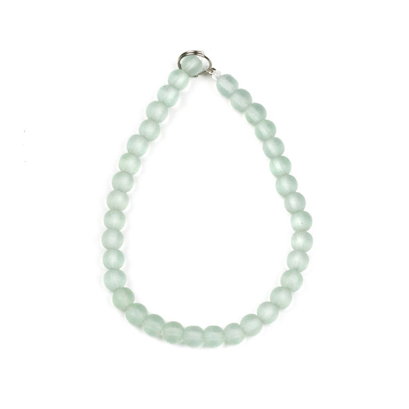 Matte Glass, Sea Glass Style 6mm Matte Seafoam Green Round Beads - approx. 8 inch strand