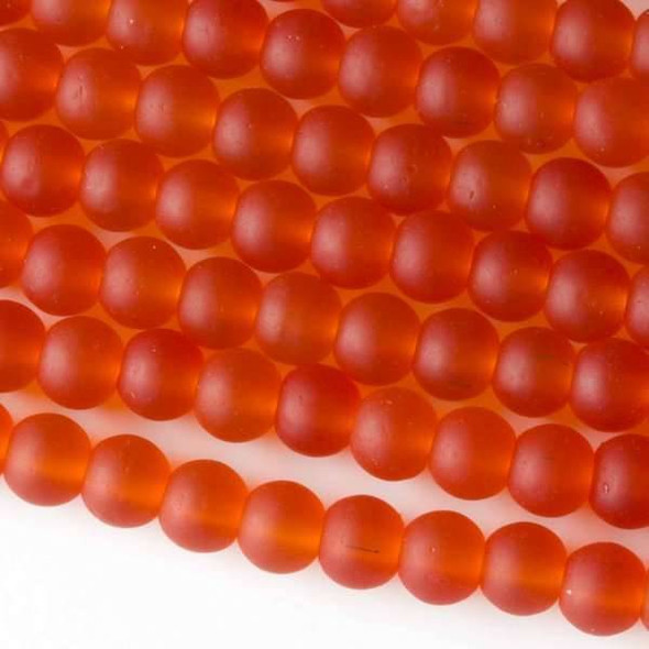 Matte Glass, Sea Glass Style 6mm Tangerine Orange Round Beads - approx. 8 inch strand