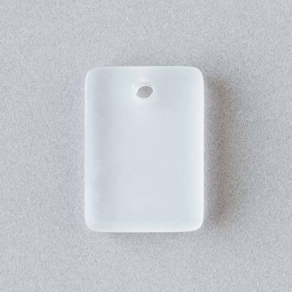 Matte Glass, Sea Glass Style 13x18mm Clear White Rectangle Pendants - 8 pendants per bag