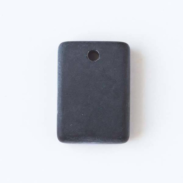 Matte Glass, Sea Glass Style 13x18mm Black Rectangle Pendants - 8 pendants per bag