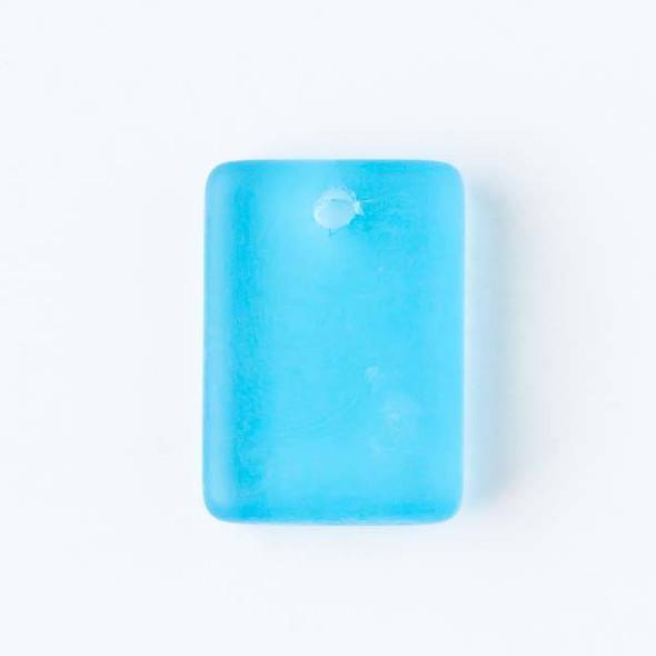 Matte Glass, Sea Glass Style 13x18mm Caribbean Blue Rectangle Pendants - 8 pendants per bag