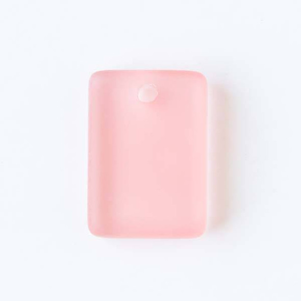 Matte Glass, Sea Glass Style 13x18mm Coral Pink Rectangle Pendants - 8 pendants per bag