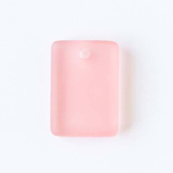 Matte Glass, Sea Glass Style 13x18mm Coral Pink Rectangle Pendants - 8 pendants per bag