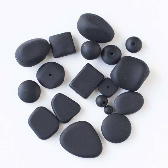Assorted Mix of 25 Matte Glass, Sea Glass Style Black Beads