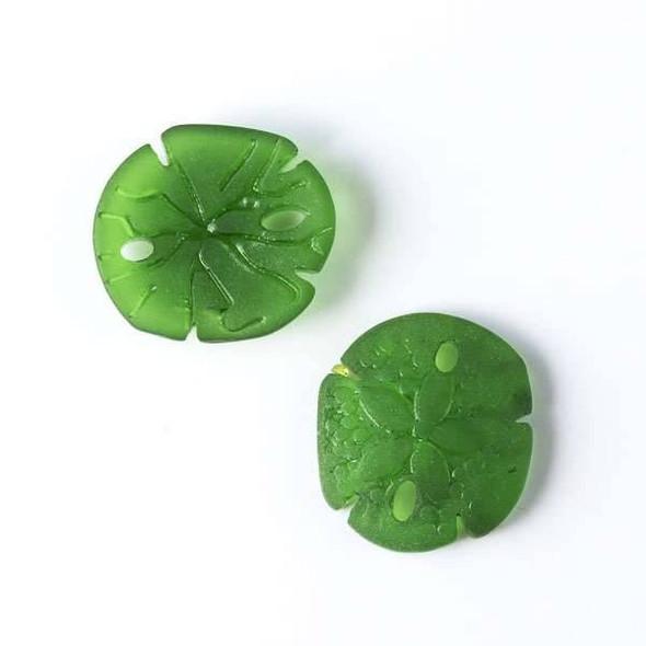 Matte Glass, Sea Glass Style 18x20mm Emerald Green Sand Dollar Pendant - 4 per bag