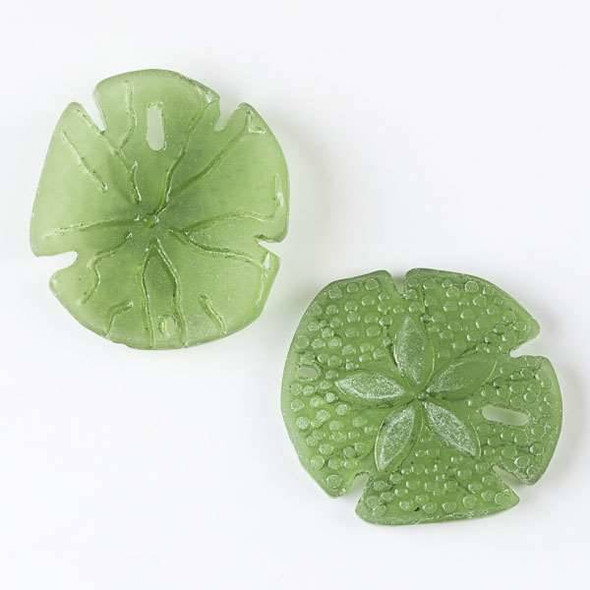 Matte Glass, Sea Glass Style Large 38mm Emerald Green Sand Dollar Pendant - 2 per bag