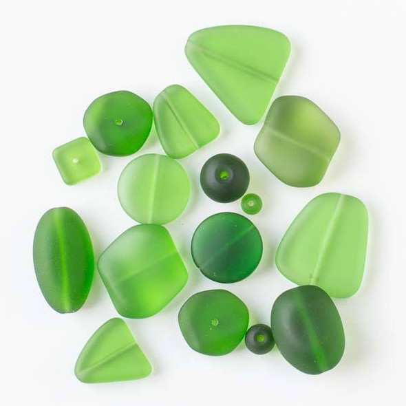 Assorted Mix of 25 Matte Glass, Sea Glass Style Emerald Green Beads