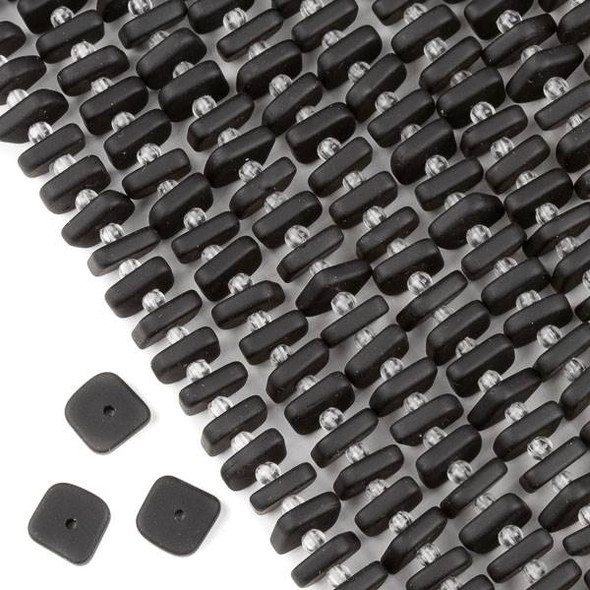 Matte Glass, Sea Glass Style 2.5mm thick x 8-9mm Black Square Button Spacer Beads - 7 inch strand