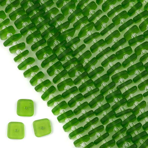 Matte Glass, Sea Glass Style 2mm thick x 8-9mm Matte Lime Green Square Button Spacer Beads - 7 inch strand