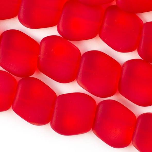 Matte Glass, Sea Glass Style 17x18mm Bright Red Square Nugget - 7 inch strand