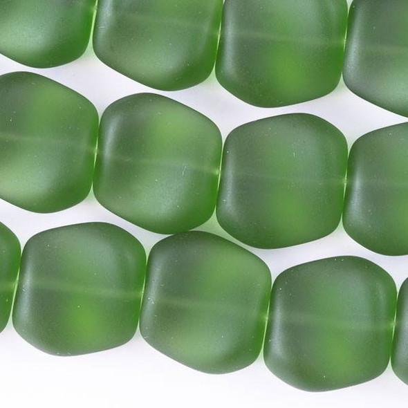 Matte Glass, Sea Glass Style 16x18mm Dark Emerald Green Square Nuggets - 7.5 inch strand