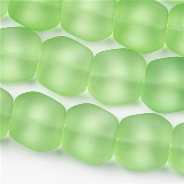 Matte Glass, Sea Glass Style 16x18mm Peridot Green Square Nuggets - 7.5 inch strand