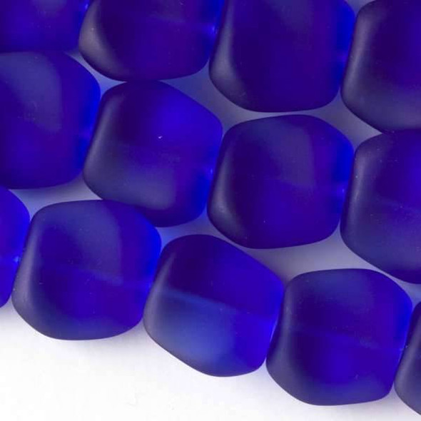 Matte Glass, Sea Glass Style 16x18mm Royal Blue Square Nuggets - 7.5 inch strand