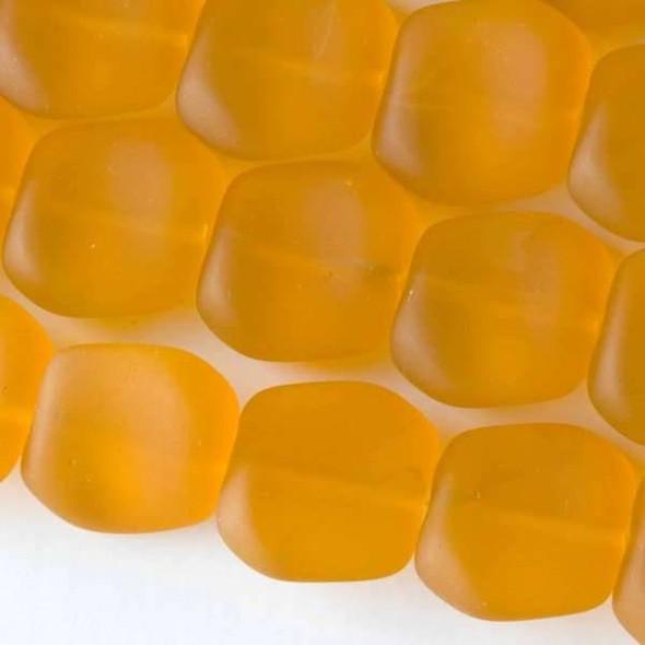 Matte Glass, Sea Glass Style 16x18mm Saffron Yellow Square Nuggets - 7.5 inch strand