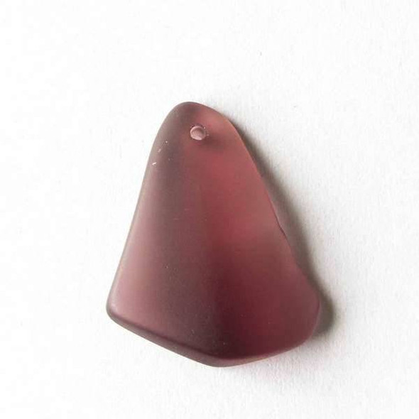 Matte Glass, Sea Glass Style approximately 15x25mm Medium Amethyst Top Drilled Free Form Pendants - 9 assorted pendants per bag