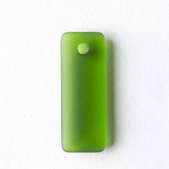 Matte Glass, Sea Glass Style 12x32mm Emerald Green Top Drilled Puffed Rectangle Pendants - 8 pendants per bag
