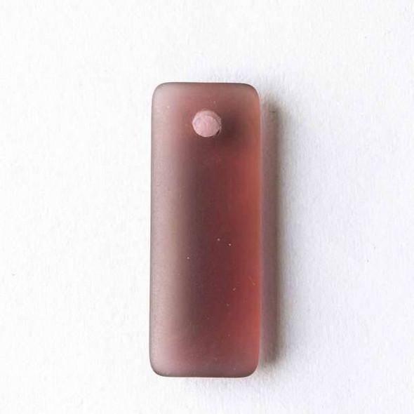 Matte Glass, Sea Glass Style 12x32mm Medium Amethyst Top Drilled Puffed Rectangle Pendants - 8 pendants per bag