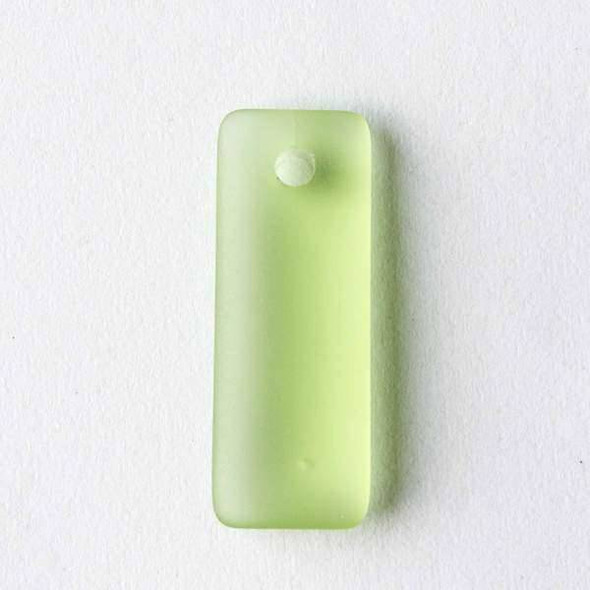 Matte Glass, Sea Glass Style 12x32mm Peridot Green Top Drilled Puffed Rectangle Pendants - 8 pendants per bag