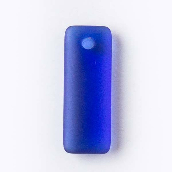 Matte Glass, Sea Glass Style 12x32mm Royal Blue Top Drilled Puffed Rectangle Pendants - 8 pendants per bag