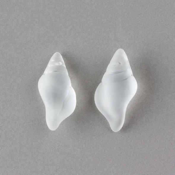 Matte Glass, Sea Glass Style 14x26mm Clear Small Conch Shell Top Drilled Pendant - 4 per bag