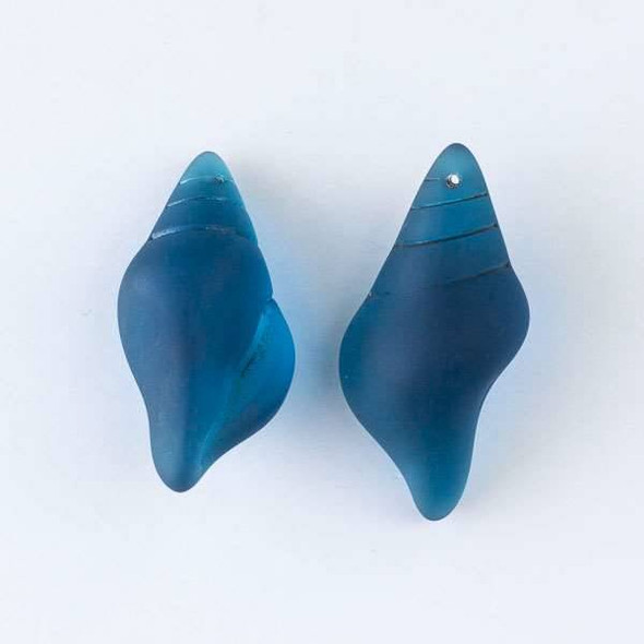 Matte Glass, Sea Glass Style 18x38mm Peacock Blue Large Conch Shell Top Drilled Pendant - 3 per bag