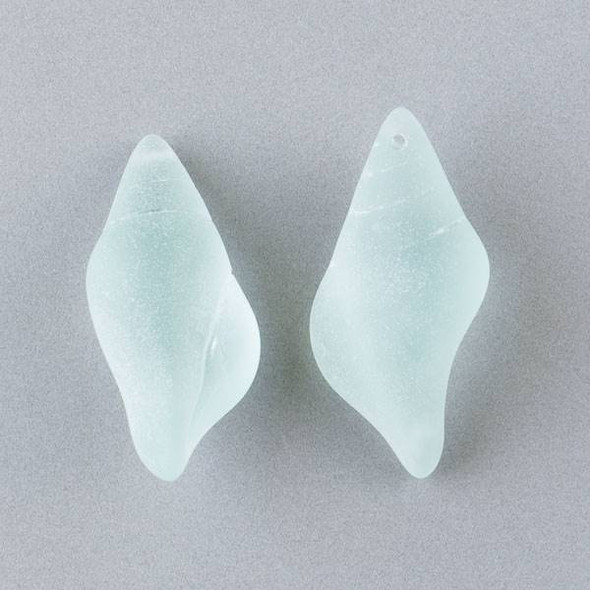 Matte Glass, Sea Glass Style 18x38mm Sea Foam Green Large Conch Shell Top Drilled Pendant - 3 per bag