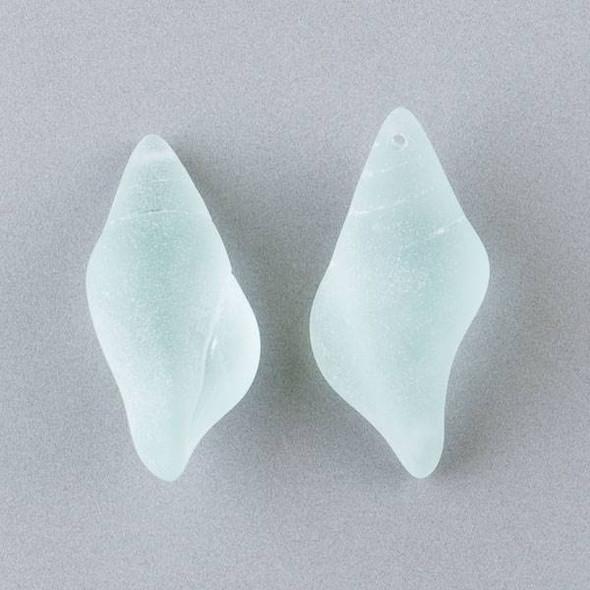 Matte Glass, Sea Glass Style 18x38mm Sea Foam Green Large Conch Shell Top Drilled Pendant - 3 per bag
