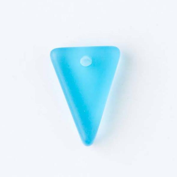 Matte Glass, Sea Glass Style 13x18mm Caribbean Blue Triangle Pendants - 8 pendants per bag