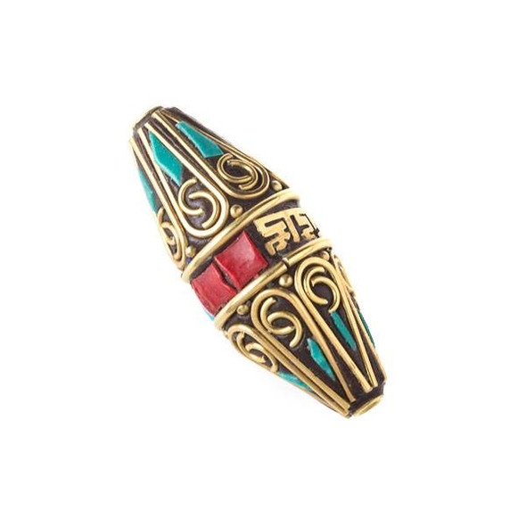 Tibetan Brass 15x38mm Rice Shaped Tube Bead with Tibetan Signs and Red Coral and Turquoise Howlite Inlay - 1 per bag