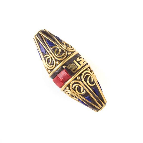 Tibetan Brass 15x38mm Rice Shaped Tube Bead with Tibetan Signs and Red Coral and Lapis Inlay - 1 per bag