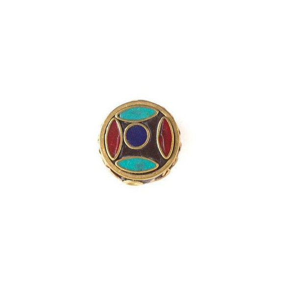 Tibetan Brass 16mm Coin Bead with Red Coral, Lapis, and Turquoise Howlite Inlay - 1 per bag
