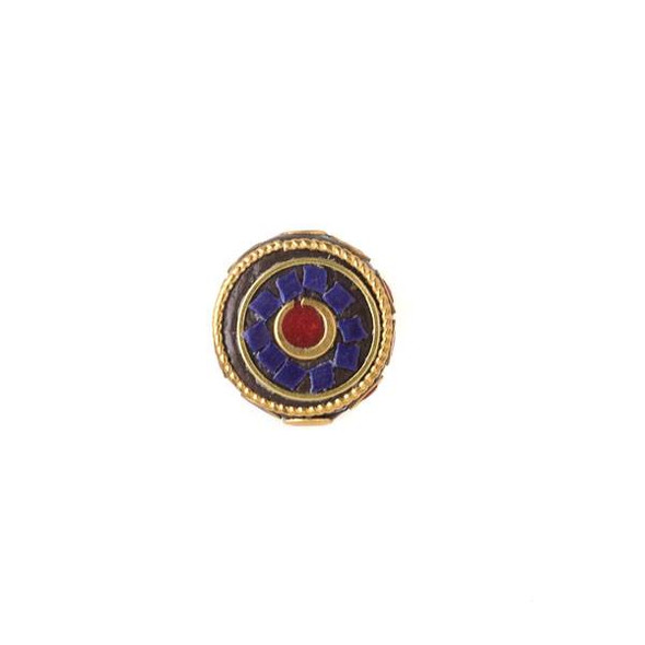 Tibetan Brass 16mm Coin Bead with Circles and Red Coral and Lapis Inlay - 1 per bag