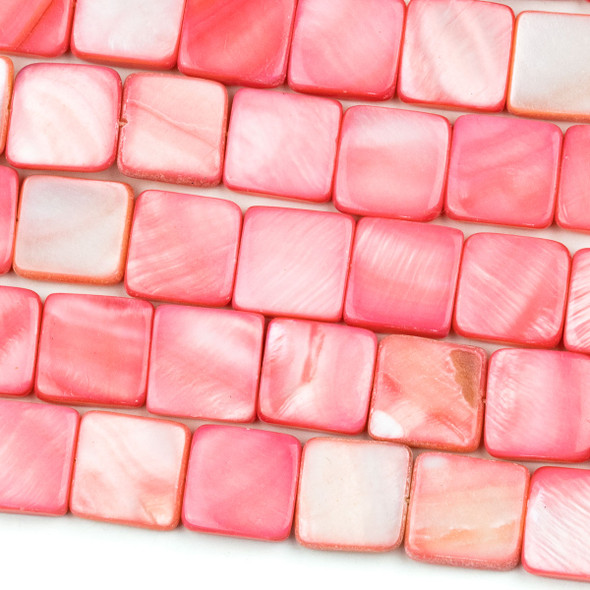 Dyed Shell 12mm Pink Square Beads - 16 inch strand