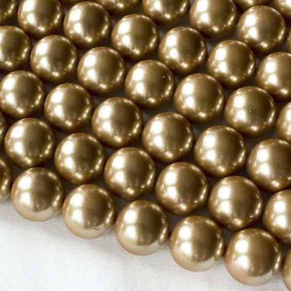 Shell Pearl 12mm Gold Round Beads - approx. 8 inch strand