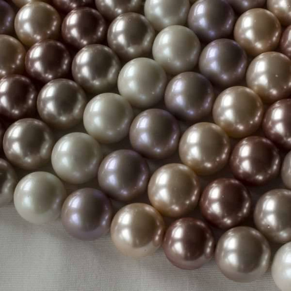 Shell Pearl 12mm Round Beads in a Mauve Mix - approx. 8 inch strand