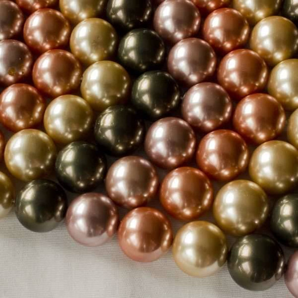 Shell Pearl 12mm Round Beads in a Meadow Mix - approx. 8 inch strand