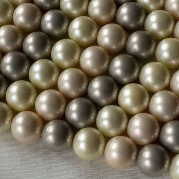 Shell Pearl 12mm Round Beads in a Pastel Mix - approx. 8 inch strand