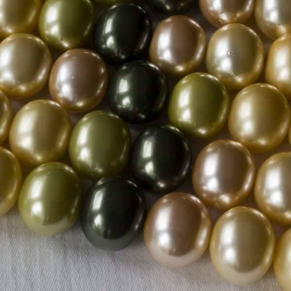 Shell Pearl 13x15mm Egg Beads in a Canopy Mix - approx. 8 inch strand