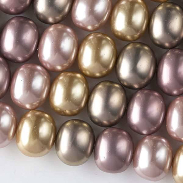 Shell Pearl 13x15mm Egg Beads in a Dawn Sky Mix - approx. 8 inch strand