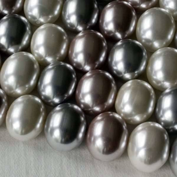 Shell Pearl 13x15mm Egg Beads in a Frost Mix - approx. 8 inch strand