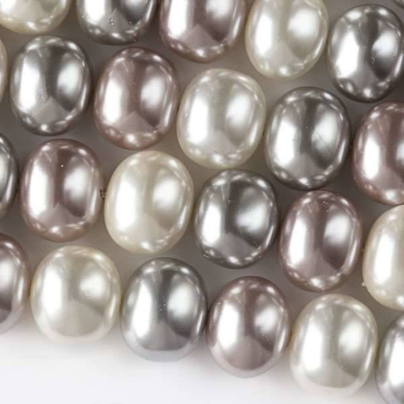 Shell Pearl 13x15mm Egg Beads in a Frozen Mix - approx. 8 inch strand